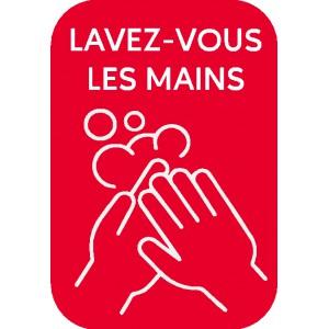 """Stickers """"lavez-vous les mains"""" rectangulaires rouges"""