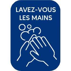 """Stickers """"lavez-vous les mains"""" rectangulaires bleus"""